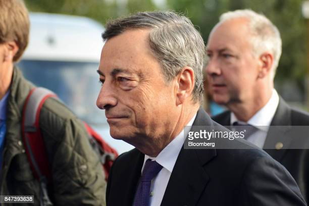 Mario Draghi president of the European Central Bank arrives for the Eurogroup meeting in Tallinn Estonia on Friday Sept 15 2017 The monetary union is...