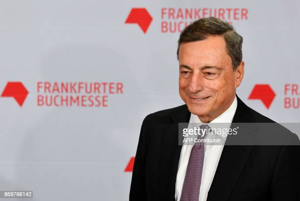 Mario Draghi President of the European Central Bank arrives for the opening of the Frankfurt Book Fair on October 10 2017 in Frankfurt am Main...