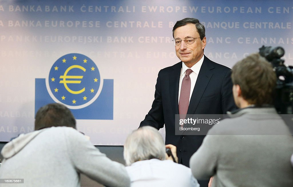 Mario Draghi, president of the European Central Bank (ECB), arrives to attend a news conference at the bank's headquarters in Frankfurt, Germany, on Thursday, Feb.7, 2013. The European Central Bank left interest rates unchanged even as a stronger currency threatens the euro area's recovery from recession. Photographer: Ralph Orlowski/Bloomberg via Getty Images