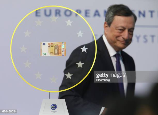 Mario Draghi president of the European Central Bank arrives to unveil the new 50 euro currency bank note at the ECB headquarters in Frankfurt Germany...