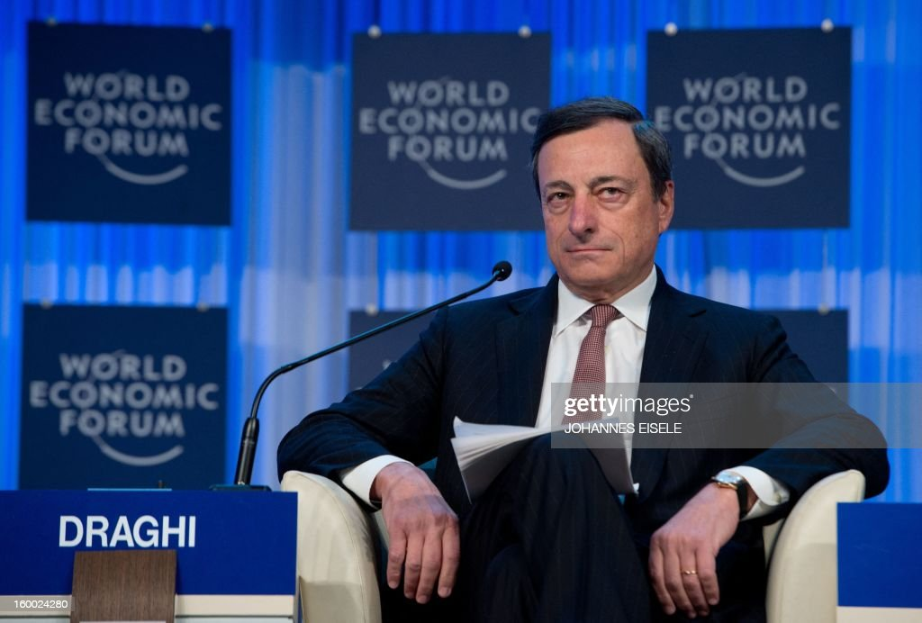 Mario Draghi, President of the European Central Bank, (ECB) attends a session of the World Economic Forum Annual Meeting 2013 on January 25, 2013 at the Swiss resort of Davos. The World Economic Forum (WEF) will take place from January 23 to 27.