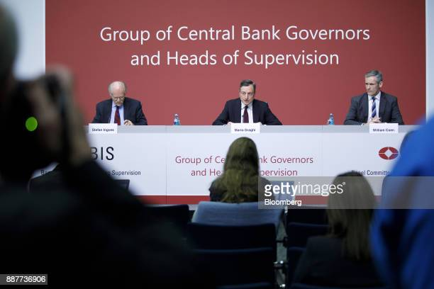 Mario Draghi president of the European Central Bank center speaks as Stefan Ingves governor of the Sveriges Riksbank and chairman of the Basel...