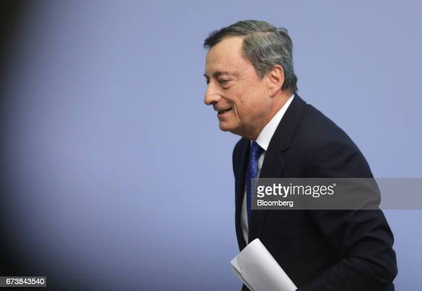 Mario Draghi president of the European Central Bank departs following a news conference to announce the bank's interest rate decision at the ECB...