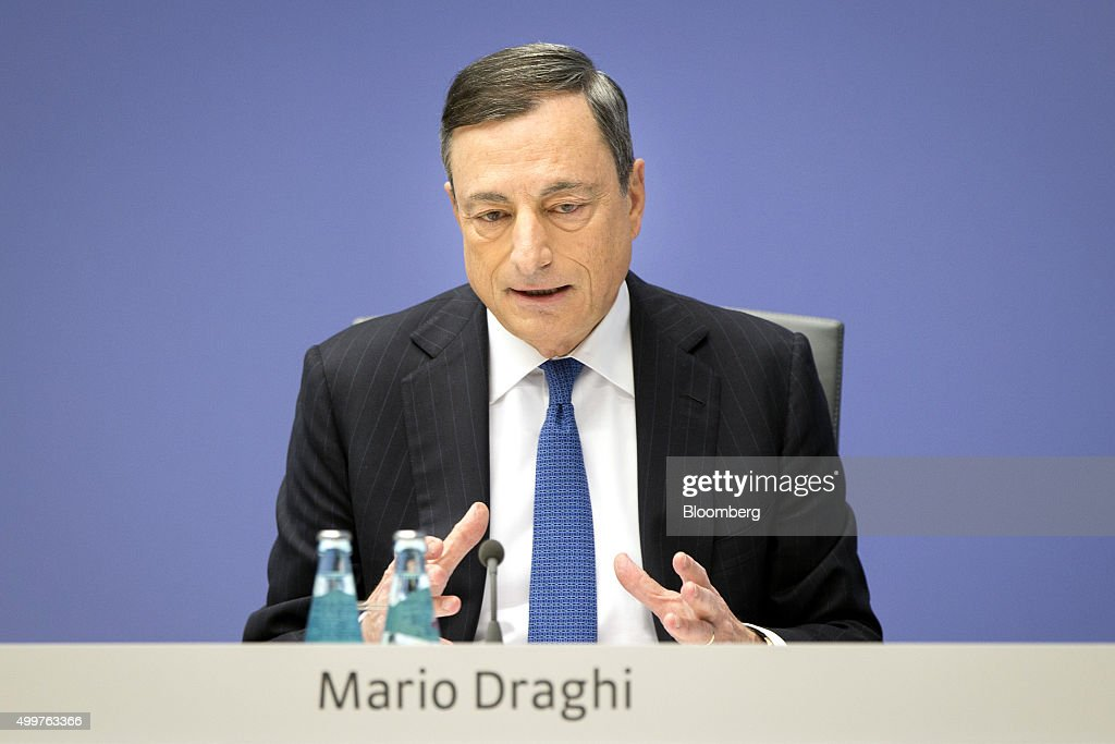 <a gi-track='captionPersonalityLinkClicked' href=/galleries/search?phrase=Mario+Draghi&family=editorial&specificpeople=571678 ng-click='$event.stopPropagation()'>Mario Draghi</a>, president of the European Central Bank (ECB), gestures as he speaks during a news conference to announce the bank's interest rate decision at the ECB headquarters in Frankfurt, Germany, on Thursday, Dec. 3, 2015. The euro dropped the most in almost two weeks versus the dollar as investors braced for a European Central Bank meeting Thursday that economists said will result in policy makers expanding monetary stimulus. Photographer: Jasper Juinen/Bloomberg via Getty Images