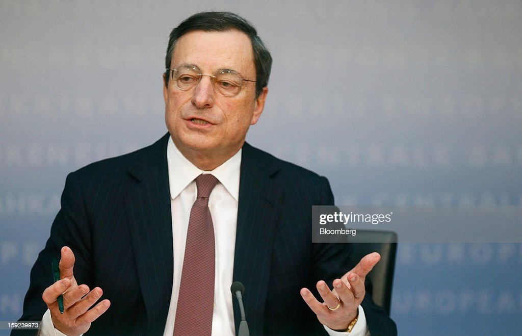 Mario Draghi, president of the European Central Bank (ECB), gestures during a news conference at the bank's headquarters in Frankfurt, Germany, on Thursday, Jan. 10, 2013. Draghi said the euro-area economy will slowly recover this year as the region's bond markets stabilize after three years of turmoil. Photographer: Ralph Orlowski/Bloomberg via Getty Images