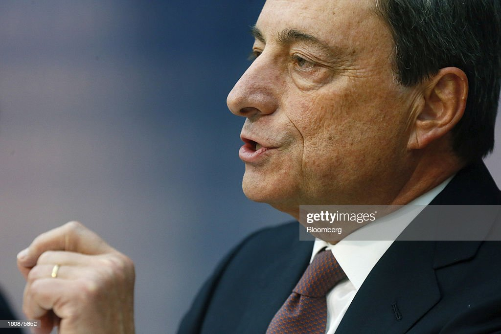 <a gi-track='captionPersonalityLinkClicked' href=/galleries/search?phrase=Mario+Draghi&family=editorial&specificpeople=571678 ng-click='$event.stopPropagation()'>Mario Draghi</a>, president of the European Central Bank (ECB), gestures during a news conference at the bank's headquarters in Frankfurt, Germany, on Thursday, Feb.7, 2013. The European Central Bank left interest rates unchanged even as a stronger currency threatens the euro area's recovery from recession. Photographer: Ralph Orlowski/Bloomberg via Getty Images