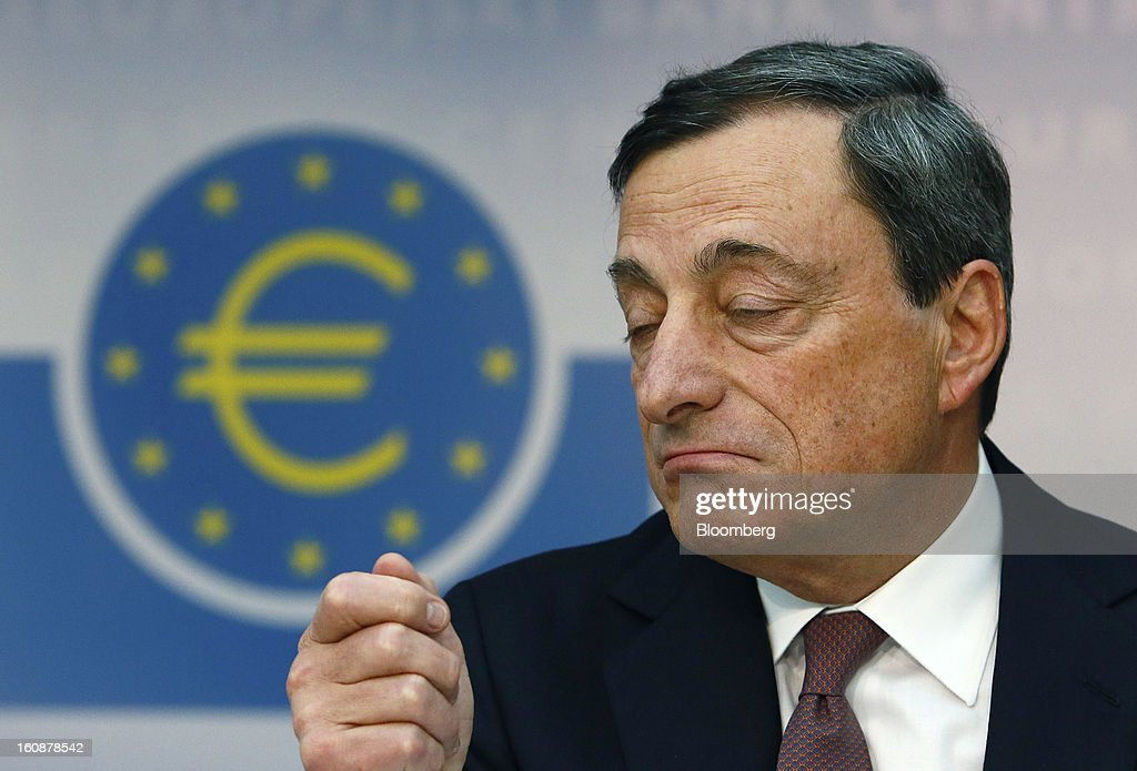 Mario Draghi, president of the European Central Bank (ECB), gestures during a news conference at the bank's headquarters in Frankfurt, Germany, on Thursday, Feb.7, 2013. The European Central Bank left interest rates unchanged even as a stronger currency threatens the euro area's recovery from recession. Photographer: Ralph Orlowski/Bloomberg via Getty Images