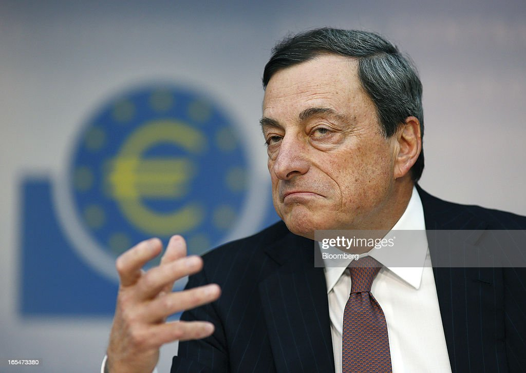 <a gi-track='captionPersonalityLinkClicked' href=/galleries/search?phrase=Mario+Draghi&family=editorial&specificpeople=571678 ng-click='$event.stopPropagation()'>Mario Draghi</a>, president of the European Central Bank (ECB), gestures during a news conference at the bank's headquarters in Frankfurt, Germany, on Thursday, April 4, 2013. Draghi signaled the ECB stands ready to cut interest rates if the economy deteriorates and said officials are considering additional measures as a debt crisis enters its fourth year. Photographer: Ralph Orlowski/Bloomberg via Getty Images