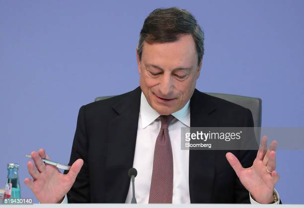 Mario Draghi president of the European Central Bank gestures during a news conference following the bank's interest rate decision at the ECB...