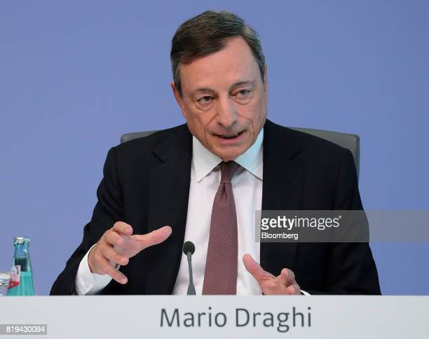 Mario Draghi president of the European Central Bank gestures while speaking during a news conference following the bank's interest rate decision at...