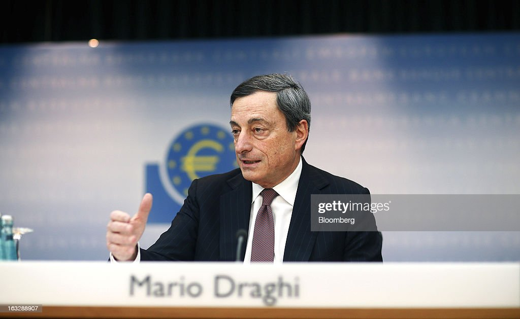 Mario Draghi, president of the European Central Bank (ECB), gestures whilst speaking during a news conference at the bank's headquarters in Frankfurt, Germany, on Thursday, March 7, 2013. Draghi stuck to his view that the euro-area economy will gradually recover later this year as policy makers trimmed their economic and inflation forecasts. Photographer: Ralph Orlowski/Bloomberg via Getty Images