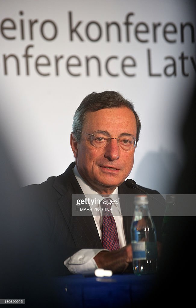 Mario Draghi, President of the European Central Bank give a press conference after the 'Euro Conference Latvia' in Riga, Latvia, on September 12, 2013. Latvia will replace its current currency the Lat by the Euro in January 2014.