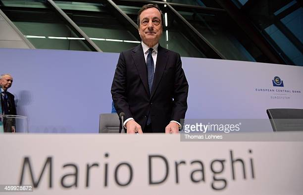 Mario Draghi President of the European Central Bank holds his first press conference following the monthly ECB board meeting in the new ECB...