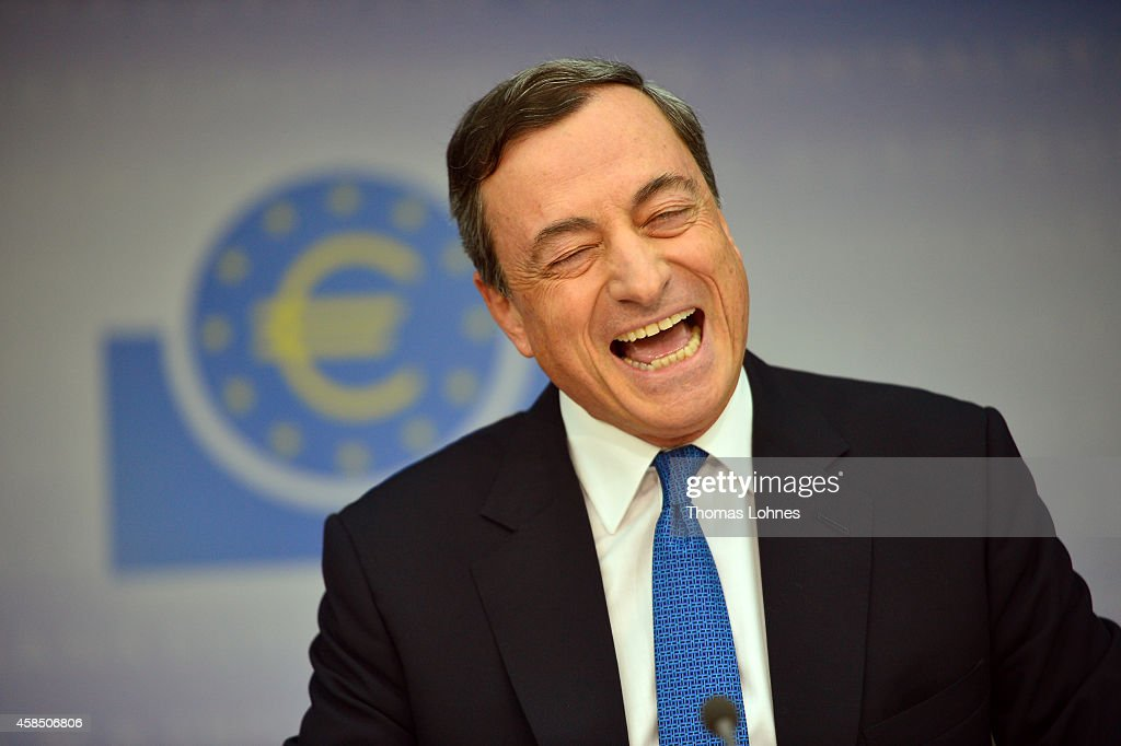 <a gi-track='captionPersonalityLinkClicked' href=/galleries/search?phrase=Mario+Draghi&family=editorial&specificpeople=571678 ng-click='$event.stopPropagation()'>Mario Draghi</a>, President of the European Central Bank, laughs as he speaks to the media following the monthly ECB board meeting on November 6, 2014 in Frankfurt, Germany. This is the last press conference Draghi will hold as the ECB is in the process of moving into its newly-built headquarters away from the central banking district in Frankfurt.