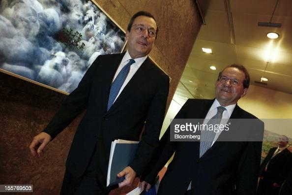Mario Draghi president of the European Central Bank left and Vitor Constancio vice president of the European Central Bank arrive to attend a news...