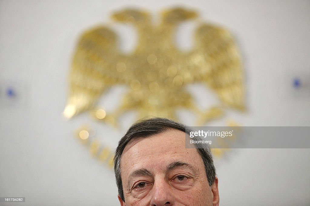 <a gi-track='captionPersonalityLinkClicked' href=/galleries/search?phrase=Mario+Draghi&family=editorial&specificpeople=571678 ng-click='$event.stopPropagation()'>Mario Draghi</a>, president of the European Central Bank (ECB), looks on during a news conference in Moscow, Russia, on Friday, Feb. 15, 2013. Draghi said while the ECB doesn't target the exchange rate, it plays an important role in assessing the economic outlook. Photographer: Alexander Zemlianichenko Jr./Bloomberg via Getty Images