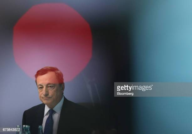 Mario Draghi president of the European Central Bank looks on during a news conference to announce the bank's interest rate decision at the ECB...