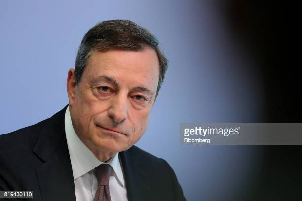 Mario Draghi president of the European Central Bank looks on during a news conference following the bank's interest rate decision at the ECB...