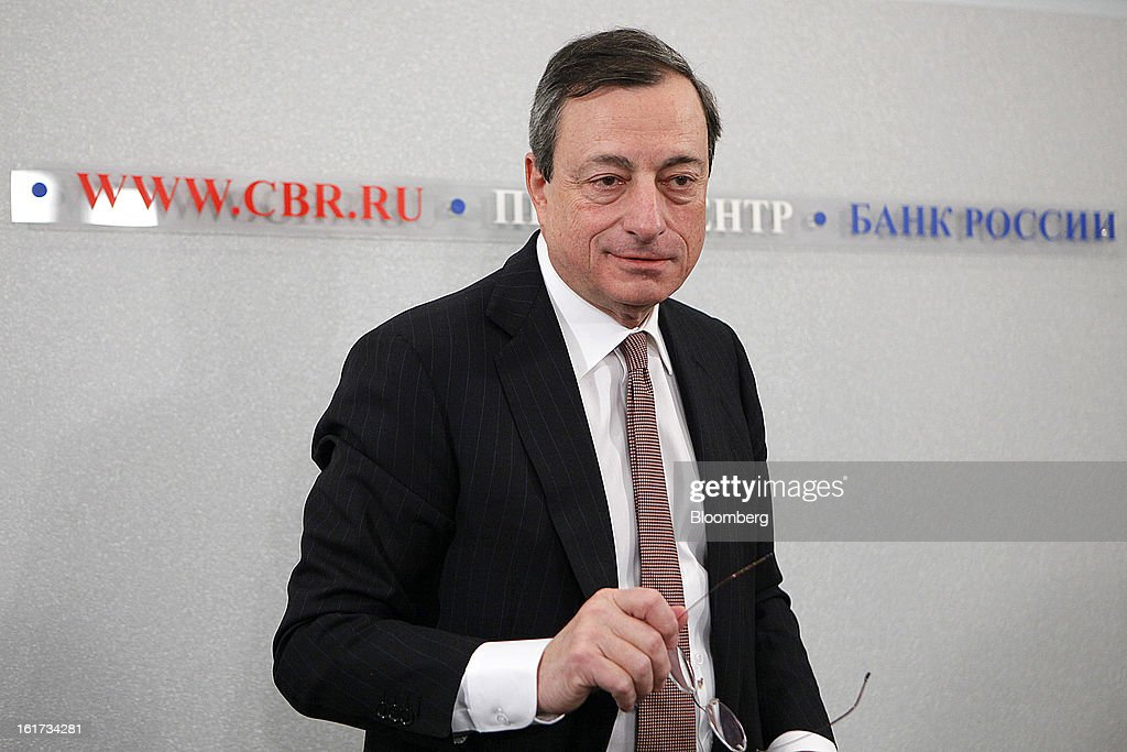 <a gi-track='captionPersonalityLinkClicked' href=/galleries/search?phrase=Mario+Draghi&family=editorial&specificpeople=571678 ng-click='$event.stopPropagation()'>Mario Draghi</a>, president of the European Central Bank (ECB), pauses before leaving a news conference in Moscow, Russia, on Friday, Feb. 15, 2013. Draghi said while the ECB doesn't target the exchange rate, it plays an important role in assessing the economic outlook. Photographer: Alexander Zemlianichenko Jr./Bloomberg via Getty Images