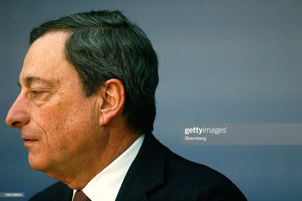 <a gi-track='captionPersonalityLinkClicked' href=/galleries/search?phrase=Mario+Draghi&family=editorial&specificpeople=571678 ng-click='$event.stopPropagation()'>Mario Draghi</a>, president of the European Central Bank (ECB), pauses during a news conference at the bank's headquarters in Frankfurt, Germany, on Thursday, Jan. 10, 2013. Draghi said the euro-area economy will slowly recover this year as the region's bond markets stabilize after three years of turmoil. Photographer: Ralph Orlowski/Bloomberg via Getty Images