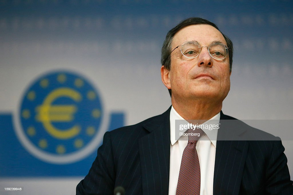 Mario Draghi, president of the European Central Bank (ECB), pauses during a news conference at the bank's headquarters in Frankfurt, Germany, on Thursday, Jan. 10, 2013. Draghi said the euro-area economy will slowly recover this year as the region's bond markets stabilize after three years of turmoil. Photographer: Ralph Orlowski/Bloomberg via Getty Images