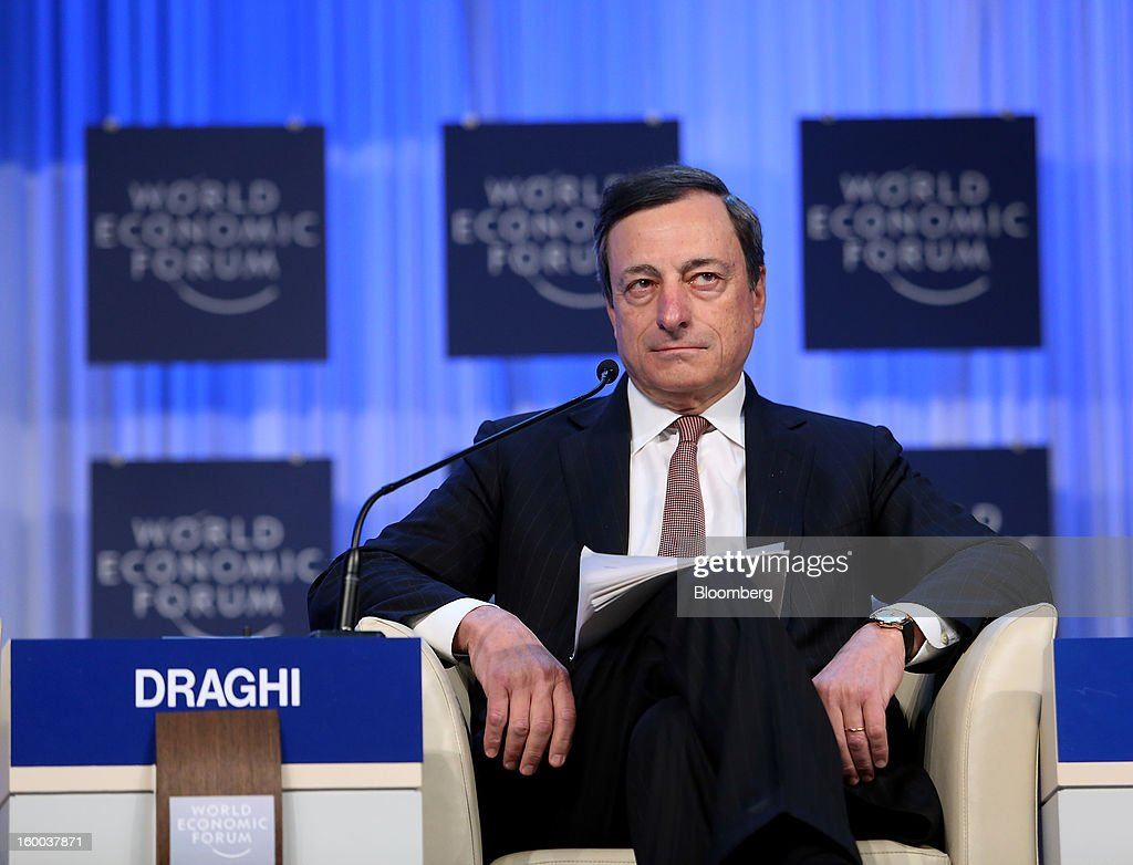 Mario Draghi, president of the European Central Bank (ECB), pauses during a session on day three of the World Economic Forum (WEF) in Davos, Switzerland, on Friday, Jan. 25, 2013. World leaders, influential executives, bankers and policy makers attend the 43rd annual meeting of the World Economic Forum in Davos, the five day event runs from Jan. 23-27. Photographer: Chris Ratcliffe/Bloomberg via Getty Images