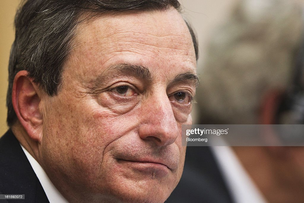 <a gi-track='captionPersonalityLinkClicked' href=/galleries/search?phrase=Mario+Draghi&family=editorial&specificpeople=571678 ng-click='$event.stopPropagation()'>Mario Draghi</a>, president of the European Central Bank (ECB), pauses during a news conference at the Spanish Congress in Madrid, Spain, on Tuesday, Feb. 12, 2013. Draghi said politicians should refrain from calling for intervention on the euro's exchange rate. Photographer: Angel Navarrete/Bloomberg via Getty Images