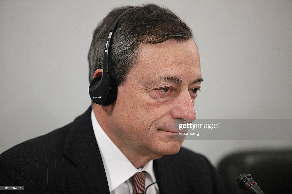 Mario Draghi, president of the European Central Bank (ECB), pauses during a news conference in Moscow, Russia, on Friday, Feb. 15, 2013. Draghi said while the ECB doesn't target the exchange rate, it plays an important role in assessing the economic outlook. Photographer: Alexander Zemlianichenko Jr./Bloomberg via Getty Images
