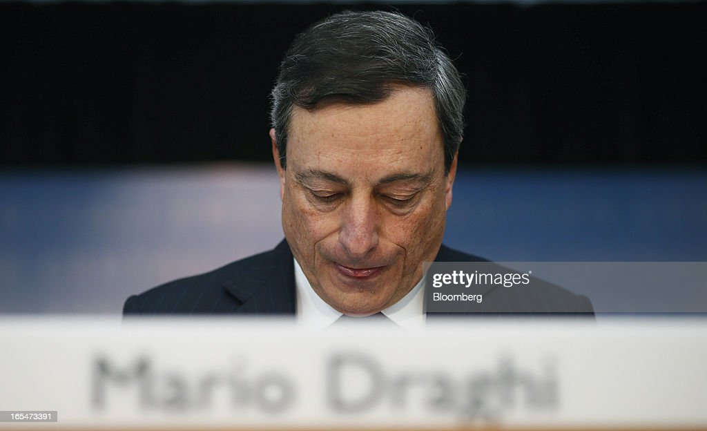 <a gi-track='captionPersonalityLinkClicked' href=/galleries/search?phrase=Mario+Draghi&family=editorial&specificpeople=571678 ng-click='$event.stopPropagation()'>Mario Draghi</a>, president of the European Central Bank (ECB), pauses during a news conference at the bank's headquarters in Frankfurt, Germany, on Thursday, April 4, 2013. Draghi signaled the ECB stands ready to cut interest rates if the economy deteriorates and said officials are considering additional measures as a debt crisis enters its fourth year. Photographer: Ralph Orlowski/Bloomberg via Getty Images