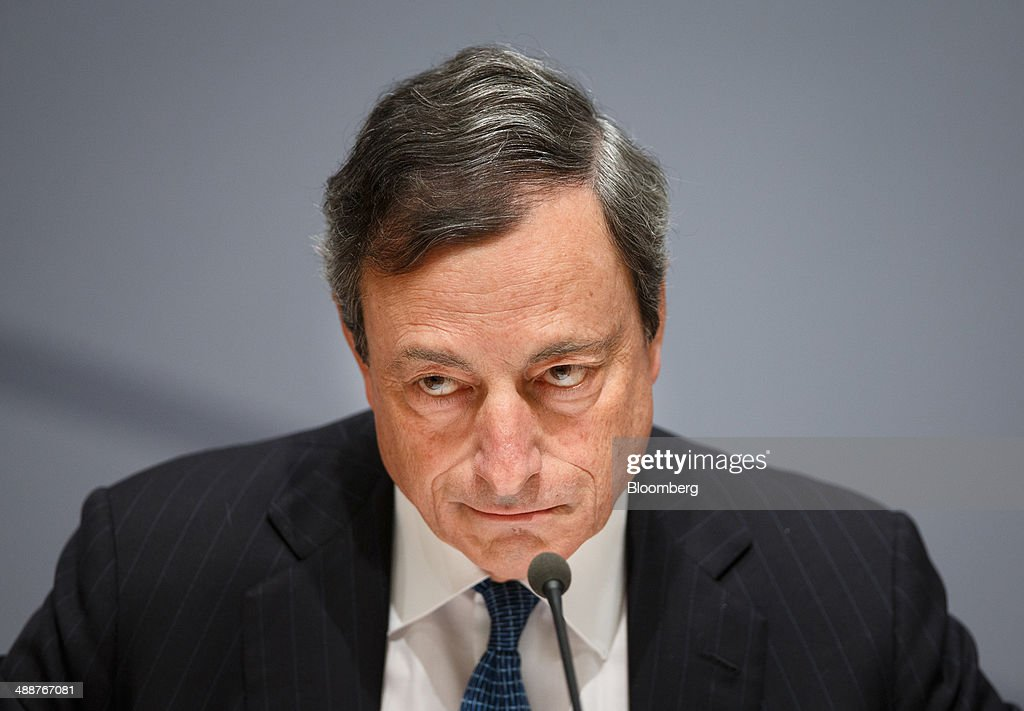 <a gi-track='captionPersonalityLinkClicked' href=/galleries/search?phrase=Mario+Draghi&family=editorial&specificpeople=571678 ng-click='$event.stopPropagation()'>Mario Draghi</a>, president of the European Central Bank (ECB), pauses during a news conference as the ECB announces the interest rate decision at the National Bank of Belgium in Brussels, Belgium, on Thursday, May 8, 2014. The euro climbed to the strongest level since October 2011 as European Central Bank policy makers refrained from cutting their key interest rate at a monthly policy meeting. Photographer: Jasper Juinen/Bloomberg via Getty Images