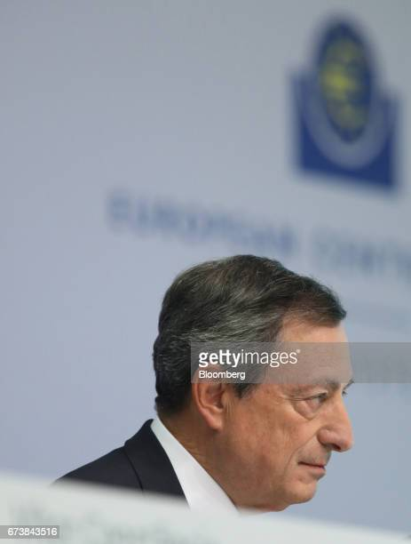Mario Draghi president of the European Central Bank pauses during a news conference to announce the bank's interest rate decision at the ECB...