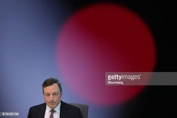 Mario Draghi president of the European Central Bank pauses during a news conference following the bank's interest rate decision at the ECB...