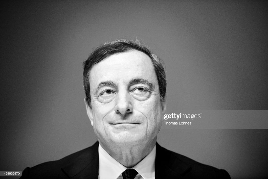 <a gi-track='captionPersonalityLinkClicked' href=/galleries/search?phrase=Mario+Draghi&family=editorial&specificpeople=571678 ng-click='$event.stopPropagation()'>Mario Draghi</a>, President of the European Central Bank pictured during his first press conference following the monthly ECB board meeting in the new ECB headquaters on December 4, 2014 in Frankfurt am Main, Germany.