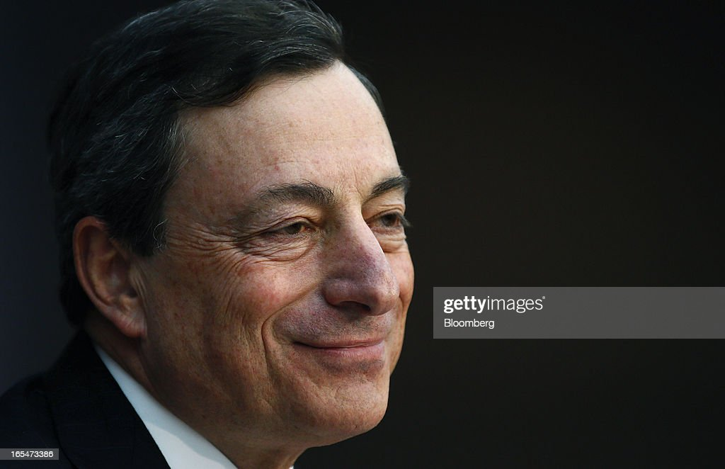 <a gi-track='captionPersonalityLinkClicked' href=/galleries/search?phrase=Mario+Draghi&family=editorial&specificpeople=571678 ng-click='$event.stopPropagation()'>Mario Draghi</a>, president of the European Central Bank (ECB), reacts during a news conference at the bank's headquarters in Frankfurt, Germany, on Thursday, April 4, 2013. Draghi signaled the ECB stands ready to cut interest rates if the economy deteriorates and said officials are considering additional measures as a debt crisis enters its fourth year. Photographer: Ralph Orlowski/Bloomberg via Getty Images