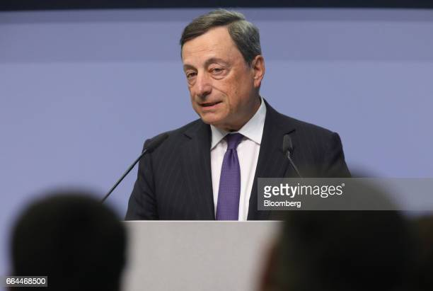 Mario Draghi president of the European Central Bank speaks as he unveils the new 50 euro currency bank note at the ECB headquarters in Frankfurt...