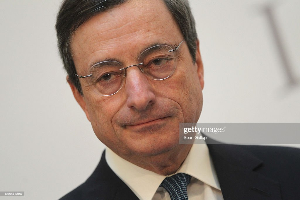 Mario Draghi, President of the European Central Bank (ECB), speaks at the Ludwig Erhard Lecture on December 15, 2011 in Berlin, Germany. Draghi said a 'short term contraction' of the Eurozone economies is inevitable.