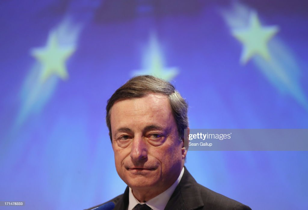 <a gi-track='captionPersonalityLinkClicked' href=/galleries/search?phrase=Mario+Draghi&family=editorial&specificpeople=571678 ng-click='$event.stopPropagation()'>Mario Draghi</a>, president of the European Central Bank (ECB), speaks at the 2013 German Economic Council (Wirtschaftsrat) conference on June 25, 2013 in Berlin, Germany. The German Economic Council is an initiative of the German Christian Democrats (CDU) dating back to 1963 that gives its members input into the German legislative process.