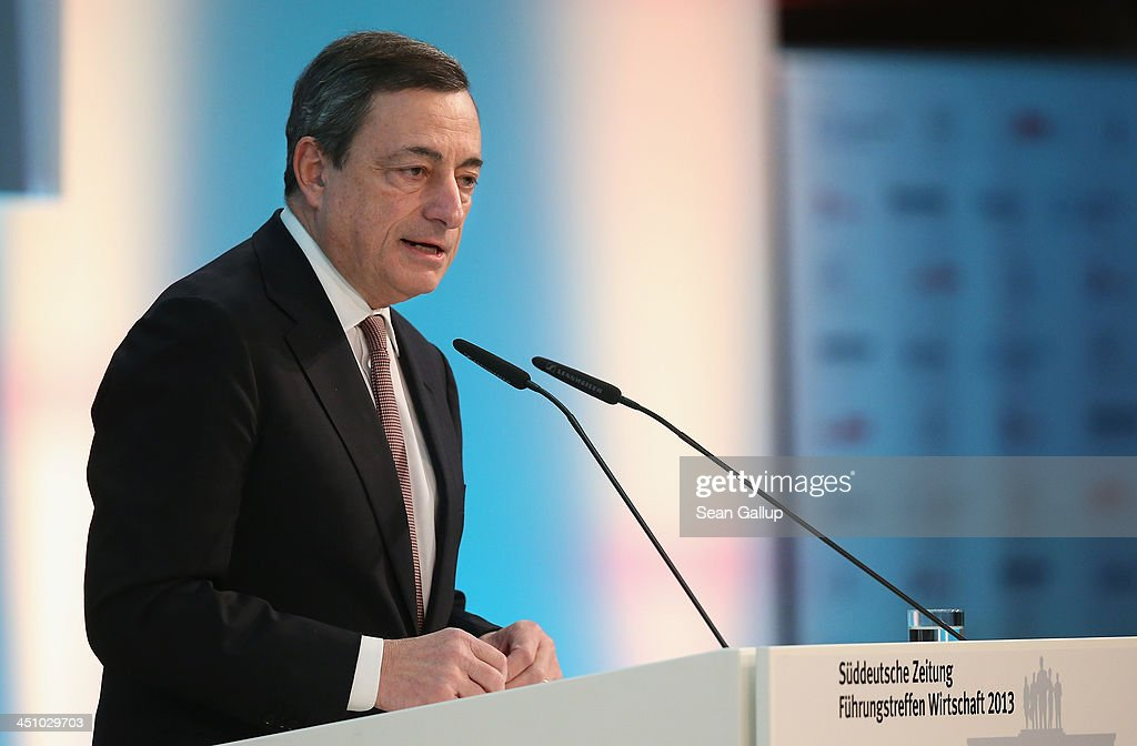 <a gi-track='captionPersonalityLinkClicked' href=/galleries/search?phrase=Mario+Draghi&family=editorial&specificpeople=571678 ng-click='$event.stopPropagation()'>Mario Draghi</a>, President of the European Central Bank, speaks at the Sueddeutsche Zeitung leadership conference on November 21, 2013 in Berlin, Germany. The conference runs from November 21-23 and speakers include the presidents of Greece and Italy.