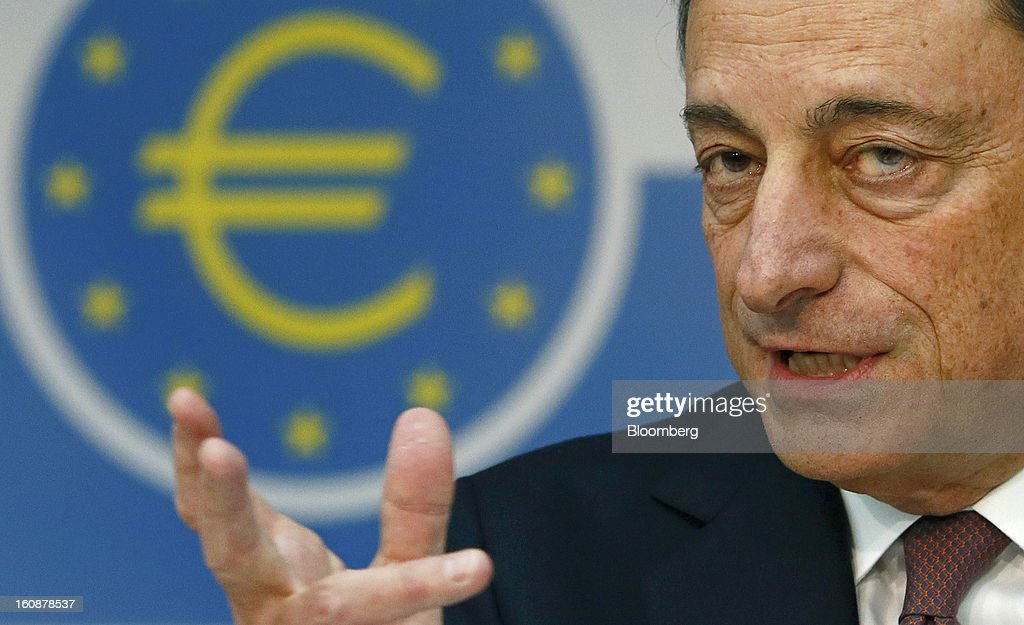 Mario Draghi, president of the European Central Bank (ECB), speaks during a news conference at the bank's headquarters in Frankfurt, Germany, on Thursday, Feb.7, 2013. The European Central Bank left interest rates unchanged even as a stronger currency threatens the euro area's recovery from recession. Photographer: Ralph Orlowski/Bloomberg via Getty Images