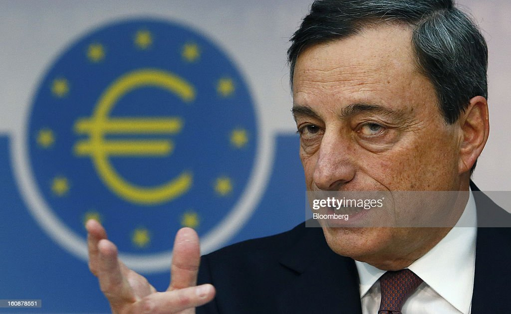 <a gi-track='captionPersonalityLinkClicked' href=/galleries/search?phrase=Mario+Draghi&family=editorial&specificpeople=571678 ng-click='$event.stopPropagation()'>Mario Draghi</a>, president of the European Central Bank (ECB), speaks during a news conference at the bank's headquarters in Frankfurt, Germany, on Thursday, Feb.7, 2013. The European Central Bank left interest rates unchanged even as a stronger currency threatens the euro area's recovery from recession. Photographer: Ralph Orlowski/Bloomberg via Getty Images