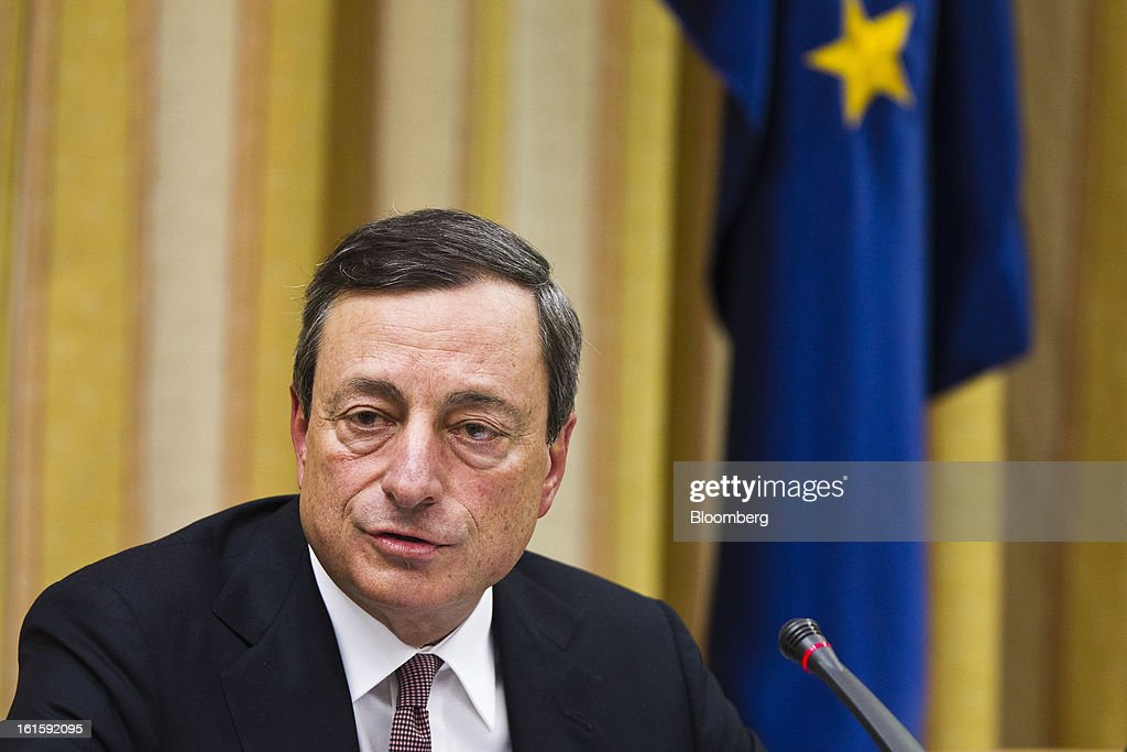Mario Draghi, president of the European Central Bank (ECB), speaks during a news conference at the Spanish Congress in Madrid, Spain, on Tuesday, Feb. 12, 2013. Draghi said politicians should refrain from calling for intervention on the euro's exchange rate. Photographer: Angel Navarrete/Bloomberg via Getty Images