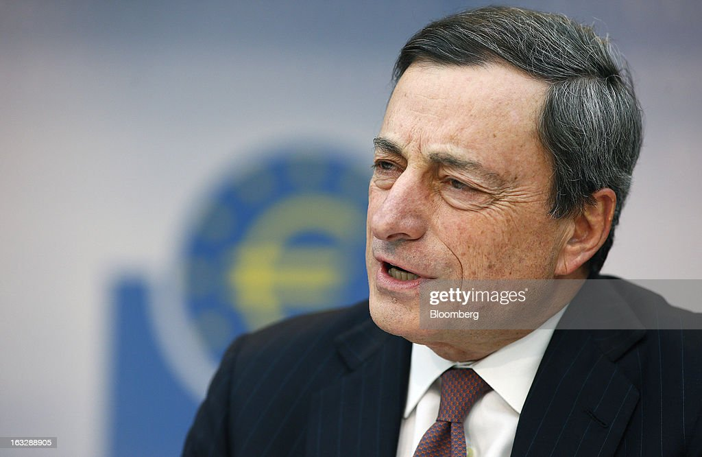 Mario Draghi, president of the European Central Bank (ECB), speaks during a news conference at the bank's headquarters in Frankfurt, Germany, on Thursday, March 7, 2013. Draghi stuck to his view that the euro-area economy will gradually recover later this year as policy makers trimmed their economic and inflation forecasts. Photographer: Ralph Orlowski/Bloomberg via Getty Images