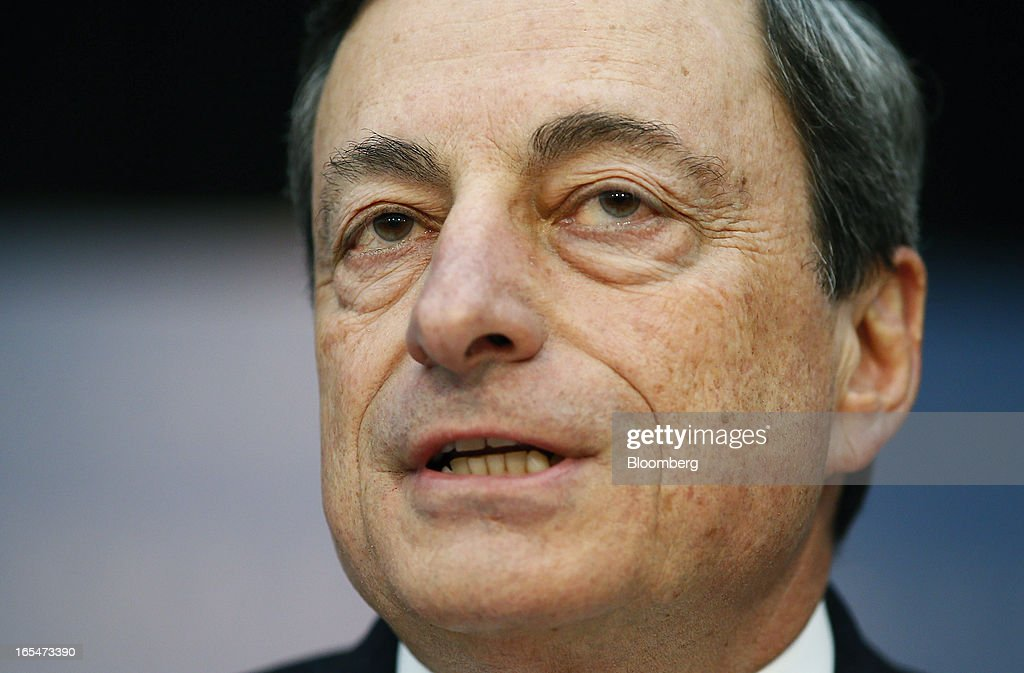 <a gi-track='captionPersonalityLinkClicked' href=/galleries/search?phrase=Mario+Draghi&family=editorial&specificpeople=571678 ng-click='$event.stopPropagation()'>Mario Draghi</a>, president of the European Central Bank (ECB), speaks during a news conference at the bank's headquarters in Frankfurt, Germany, on Thursday, April 4, 2013. Draghi signaled the ECB stands ready to cut interest rates if the economy deteriorates and said officials are considering additional measures as a debt crisis enters its fourth year. Photographer: Ralph Orlowski/Bloomberg via Getty Images