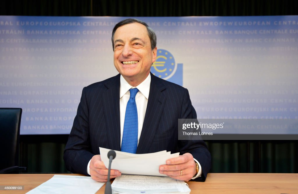 Mario Draghi, president of the European Central Bank (ECB), speaks during a news conference at the bank's headquarters on June 5, 2014 in Frankfurt am Main, Germany. The European Central Bank has lowered its benchmark interest rate to 0.15% and has also reduced its deposit rate below zero, to -0.1%.