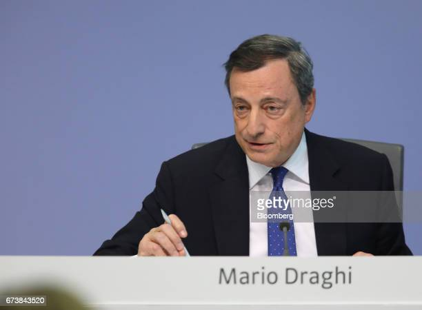 Mario Draghi president of the European Central Bank speaks during a news conference to announce the bank's interest rate decision at the ECB...
