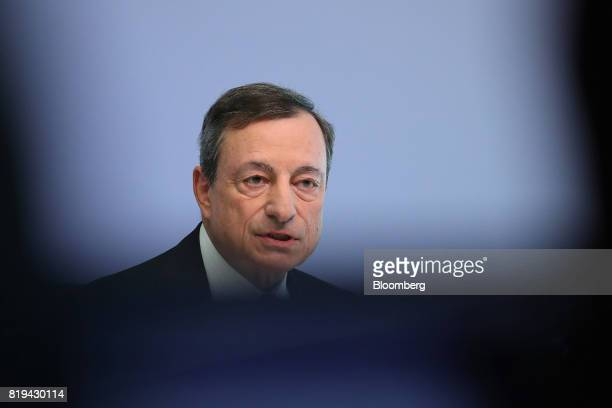 Mario Draghi president of the European Central Bank speaks during a news conference following the bank's interest rate decision at the ECB...