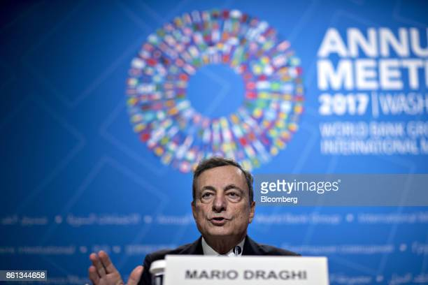 Mario Draghi president of the European Central Bank speaks during a news conference at the International Monetary Fund and World Bank Group Annual...