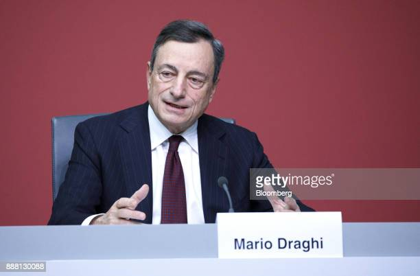Mario Draghi president of the European Central Bank speaks during a Basel III capital rules news conference at the ECB headquarters in Frankfurt...