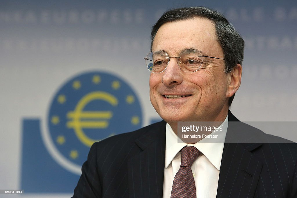 <a gi-track='captionPersonalityLinkClicked' href=/galleries/search?phrase=Mario+Draghi&family=editorial&specificpeople=571678 ng-click='$event.stopPropagation()'>Mario Draghi</a>, President of the European Central Bank (ECB), speaks to the media following a meeting of ECB leadership at the European Central Bank on January 10, 2013 in Frankfurt, Germany. The ECB is facing strong challenges in 2013, as it forecasts the Eurozone economy to shrink by 0.3% and analysts remain sceptical whether the bank can reign in and centralise supervision of the Eurozone's biggest banks.