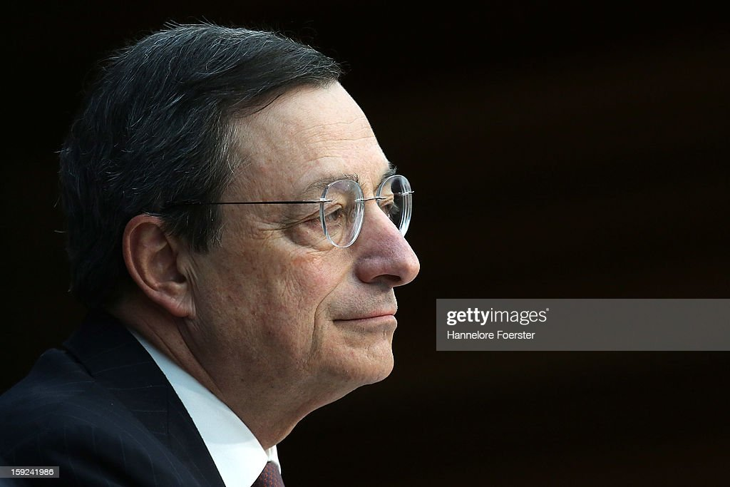 Mario Draghi, President of the European Central Bank (ECB), speaks to the media following a meeting of ECB leadership at the European Central Bank on January 10, 2013 in Frankfurt, Germany. The ECB is facing strong challenges in 2013, as it forecasts the Eurozone economy to shrink by 0.3% and analysts remain sceptical whether the bank can reign in and centralise supervision of the Eurozone's biggest banks.